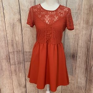 Women's H&M Divided Orange Lace Skater Dress